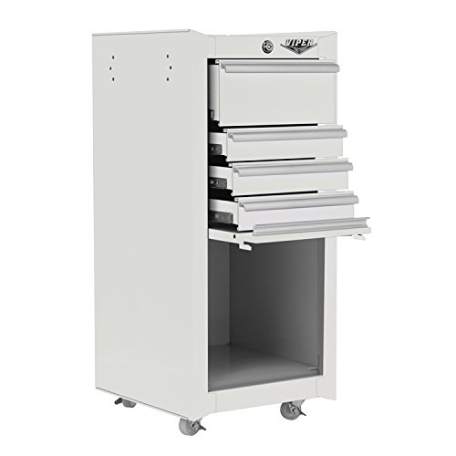 Steel Tool Cart - Viper Tool Storage V1804WHR 16-Inch 4-Drawer 18G Steel Rolling Tool/Salon Cart, with Bulk Storage, White