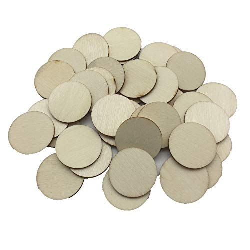 (Blank Wood Circle Coin Discs Pendants Round Wooden Disks Embellishments for Holiday Craft Supplies Pack of 100 (25mm))