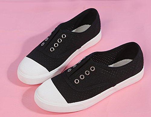 Aisun Mujeres Cutout Transpirable Punta Redonda Low Top Casual Slip-ons Zapatillas De Lona Plana Zapatos Negro