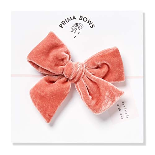 Handmade Coral Pink Velvet Fabric Bows For Girls, For Newborns Through Toddlers (1 Size Fits All) - Prima Bows (Coral Pink, Alligator Clip) from Prima Bows