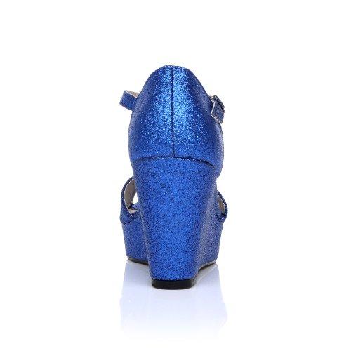 LACIE - Sandales à lanières - Talon compensé - Plateforme - Bleu - Effet pailleté