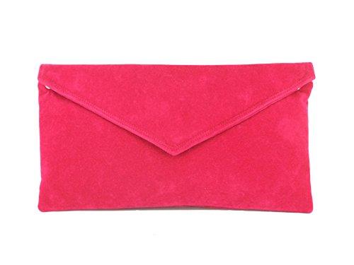 À Faux Pink Sac Pochette Main Cerise Enveloppe Daim Fuschia qwdgAdB1