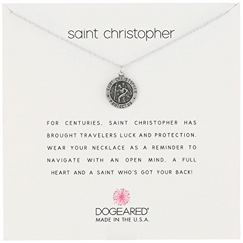 Dogeared Unisex Saint Christopher Travelers Reminder Necklace Sterling Silver One Size