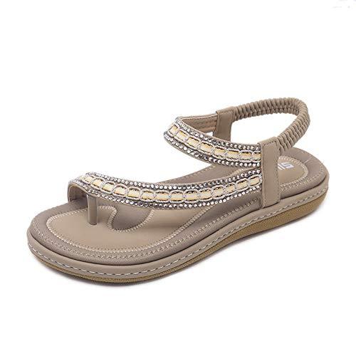 Magicxle Beach Shoes Sandals Confortevole Stile Colore Suole Di Vacanza Piatte Ladies Albicocca Bohemien RqrRnWS