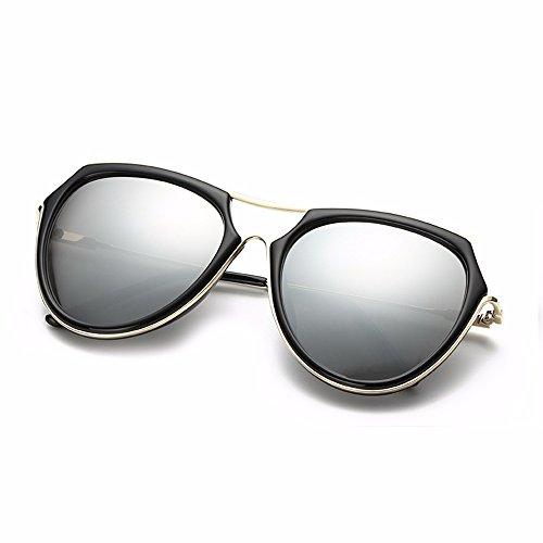 gafas alto de femenina personalidad brillo cara XIAOGEGE negro Silver sol Gafas Gafas de de redonda I1wqwx84