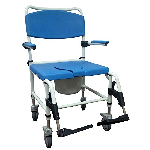 Drive Medical NRS185008 Bariatric Aluminum Rehab Shower Commode Chair with Two Rear-Locking Casters, Blue and White