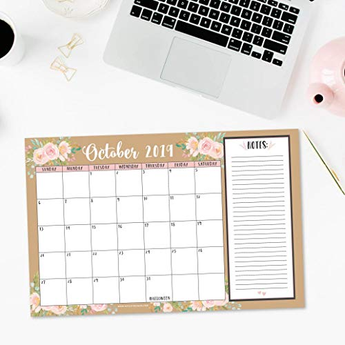 Gold Pink Chalk 2019-2020 Large Monthly Desk or Wall Calendar Planner, Floral Giant Planning Blotter Pad, 18 Month Academic Desktop, Hanging 2-Year Date Notepad Teacher, Family Business Office 11x17""