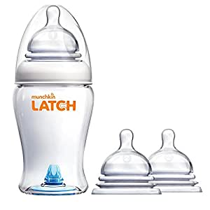 Munchkin Latch 8 Ounce BPA-Free Bottle with Replacement Stage 2 Nipples