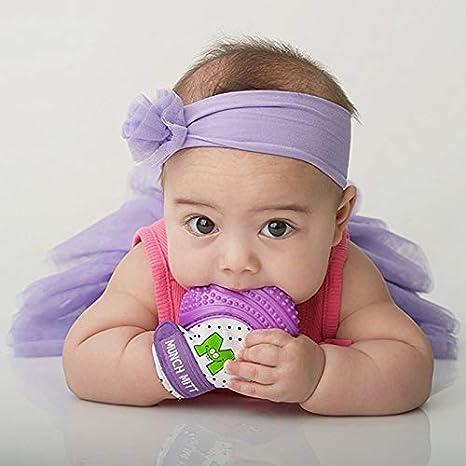 S/écurit/é Anti-Morsures Formation Gants De Dentition Infant Silicone Bande Dessin/ée Mitaines Jouets Pour Enfants M/âcher B/éb/é Rose