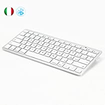 [LAYOUT ITALIANO, Sistema iOS] JCLIVETEK® Tastiera bluetooth 3.0 wireless, ultra sottile per Apple iPhone, iPad, iPod Touch dotati del Sistema iOS, Alimentata da 2 batterie AAA, supporta Tablet, Smartphone, Notebook PC dotati di funzione Bluetooth e del SISTEMA iOS