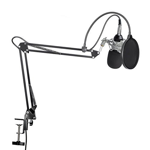 LESHP Professional Studio Broadcasting Recording Condenser Microphone & Adjustable Recording Microphone Suspension Scissor Arm Stand with Shock Mount L-35 Bracket set & USB Sound Card,Siliver