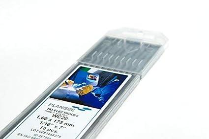 10 pieza TIG Tungsteno electrodos WC20 Gris ø1,6 X 175 mm agujas (sin