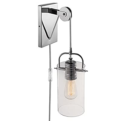 Globe Electric LeClair 1-Light Plug-In or Hardwire Industrial Wall Sconce