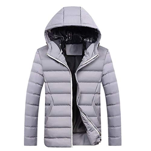 Adelina Men's Winter Leisure Plus Size Thicken Hooded Padded Slim Coat Chaude Fit Warm Rme Waterproof Windproof Padded Quilted Jacket Outwear Parka Down Coat Grau