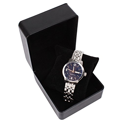 Watch Box Single Slot Watch Case PU Leather Watch Box Organizer for Men Women Travel Jewelry Storage Case Organizer Black (Velvet Watch Gift Box)