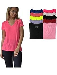 Women's 10 Pack Everyday Flowy Slub Burnout Active Casual Workout V Neck T Shirt Tops