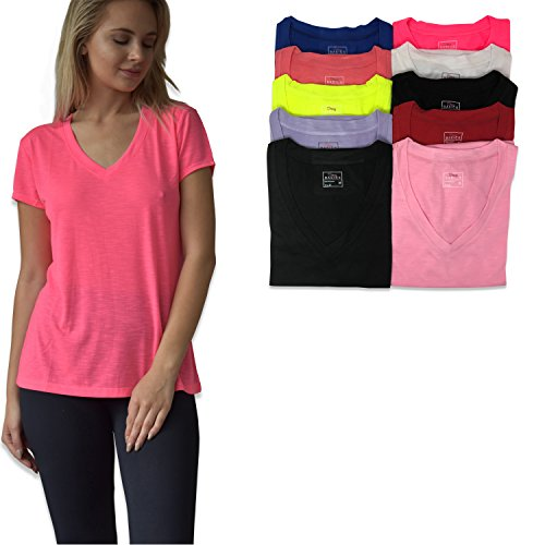 Sexy Basics Women's 10 Pack Everyday Flowy Slub Burnout Active Casual Workout V Neck T Shirt Tops (10 Pack-Bold Solids A, Medium) - Exclusive Short Sleeve V-neck T-shirt