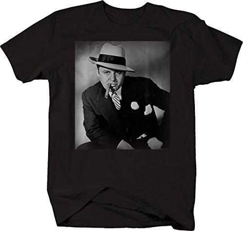 Bold Imprints Al Capone Suit Cigar American Gangster Retro Vintage Tshirt - 2XL]()