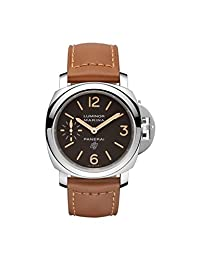 Panerai Men's 44mm Brown Leather Band Steel Case S. Sapphire Mechanical Analog Watch PAM00632