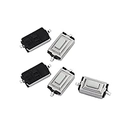 uxcell 5 Pcs 3mmx6mmx2.5mm Panel PCB Momentary Tactile Tact Push Button Switch 2 Terminals