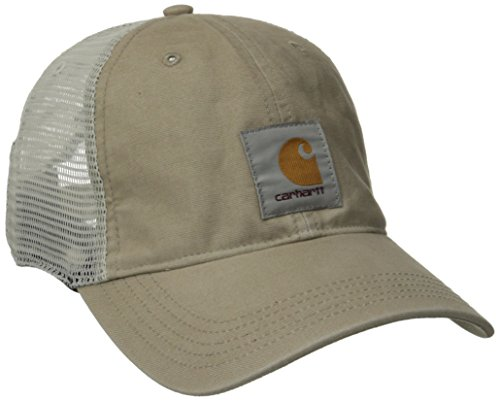 Carhartt Men's Medium Profile 100 Percent Cotton Moisture Wicking Buffalo Cap,Tan,One Size - Tan Trucker Hat