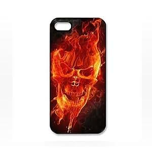Fuego del cráneo patrón de la cara de plástico duro caso para iPhone 5/5S