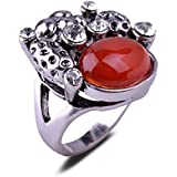 NEW Unique Lotus Seedpod Shape Design Red Agate Antique Silver Plated Ring Gift LOVE STORY (6.5#)