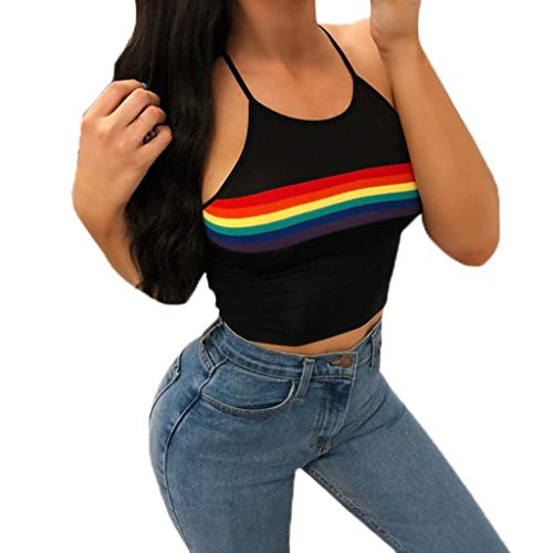 Sunhusing Ladies Rainbow Stripe Print Sexy Halter Camisole Tank Top Bandage Sling Strappy Crop Tops