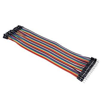 fghdf Pin 40 Pin espaciado encabezados 20cm CON 2.54mm del puente del color del cable de alambre de tablero