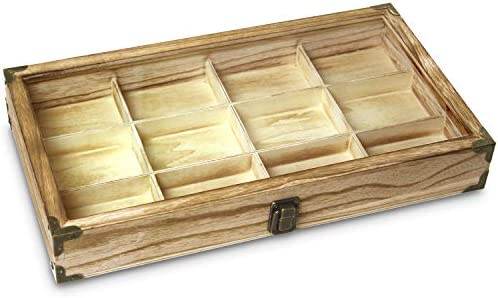 Ikee Design Wooden Jewelry Storage Tray Box with a Glass Lid, 12 Compartments