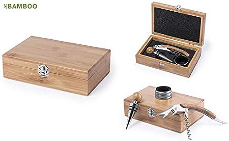 MKTOSASA - Set de Vinos con Acabado en Madera Bambú e Interior Troquelado en color Negro. 3 Accesorios de Acero Inoxidable: Sacacorchos, Dosificador y Recogegotas - 16x4.9x10