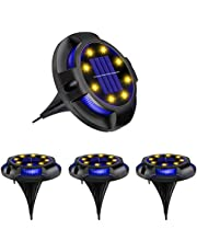 4 Pack Solar Disk Lights, SONPENT 12 LED Solar Ground Lights Waterproof Outdoor In ground Landscape Lighting Color Changing Disk Lights Dusk-to-Dawn Solar Powered Garden Lights for Pathway Lawn Yard Roads Walkway Driveway Deck Decor (Warm-White Blue)