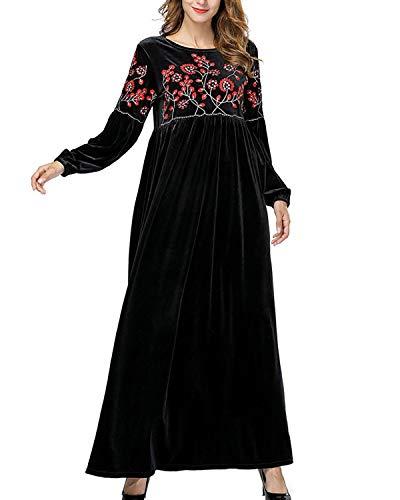 De Maxi Negro Las color Vestido Size Black Mujeres Terciopelo Plisado Black L Floral Manga Larga Yahuyaka Bordado RxUqpzw
