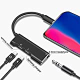 KPAO 3-in-1 Adapter Splitter Charger Compatible with Phone 8 Adapter Headphone Splitter for Headphone/Earphone Phone 8 Adapter Cables Fast Charge Splitter for Phone 8/8 Plus/ 7/7 Plus/X (Black)