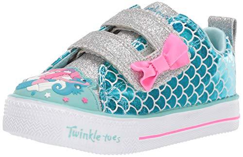 Skechers Kids Girls' Shuffle LITE-Mermaid Parade Sneaker, Turquoise/Multi, 11 Medium US Little -