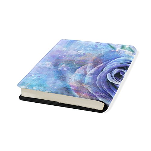 Blue Flower Stretchable Leather Book Covers Standard Size for Student Hardcover Textbooks Fits up to 9x11-Inch for School Girls Boys Gift by FeiHuang