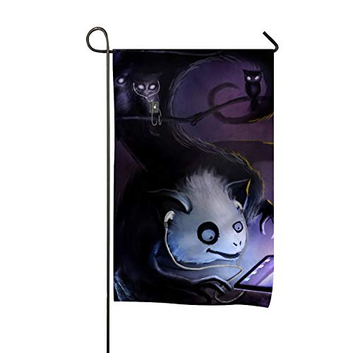 Outdoor Decorations Flag - Garden Flags for Yard Decorations, Polyester Double Sided Fantasy Creature Artistic Dark Halloween Bat Cat Spooky, 12 x 18 Inch
