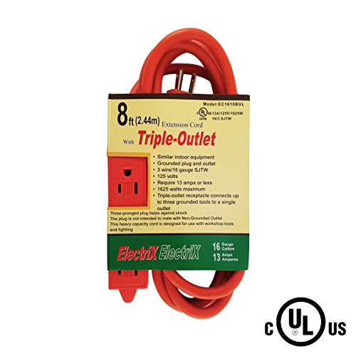 8' Power Shears (Electrix 16/3 AWG 3 Outlet SJTW 8 Ft Power Strip Medium Duty Indoor/Outdoor Extension Cord with Safety Cover UL)