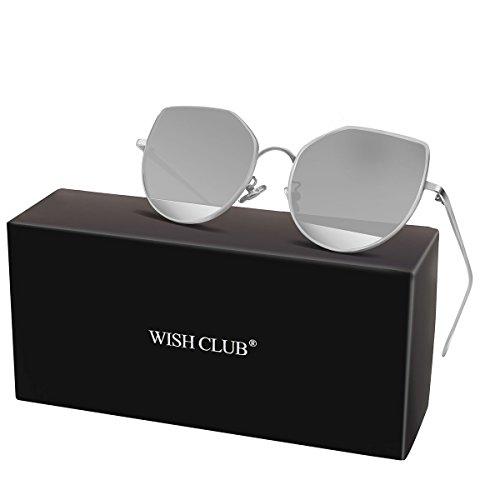WISH CLUB Cat Eye Sunglasses Coating Mirrored Flat Lenses Fashion Metal Frame Women UV 400 - Metal Eye Look Sunglasses New Cat