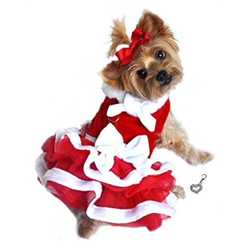 """Mrs. Claus White Christmas Chiffon Velvet Santa Girl Dress with Charm - Red - Available in Dog Sizes XS thru L (M – Chest 16-19"""", Neck 12-14"""", Back 12"""