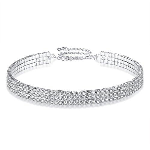 YIYIPRINCESS White Rhinestone Crystal Stretch Choker Necklace Bling Choker Collar Necklace Gift for Women Girls (3 row choker) (Stretch Glass)