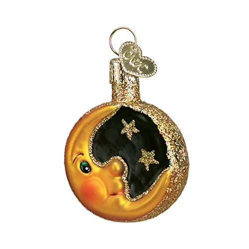 Old World Christmas Glass Blown Ornament with S-Hook and Gift Box, Halloween Collection (Mini Moon)