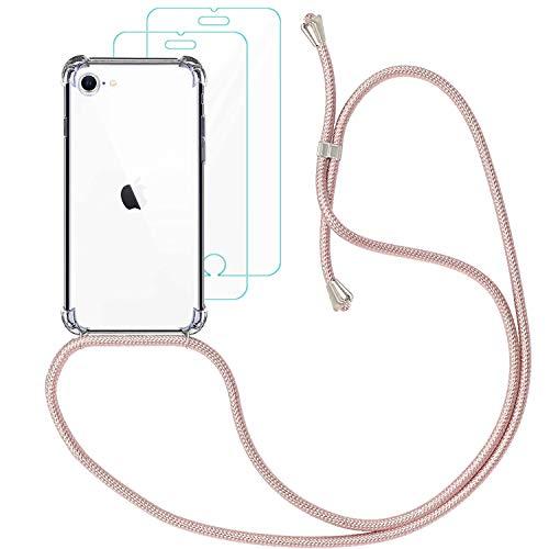 🥇 Yohii Funda con Cuerda para iphone 7/8 /SE 2020 + [2 Pack] Cristal Templado Protector de Pantalla