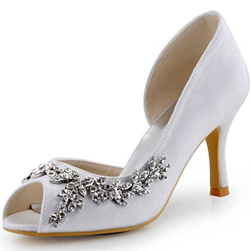 (ElegantPark HP1542 Women Peep Toe Rhinestones Pumps High Heel Satin Wedding Bridal Dress Shoes White US 9)