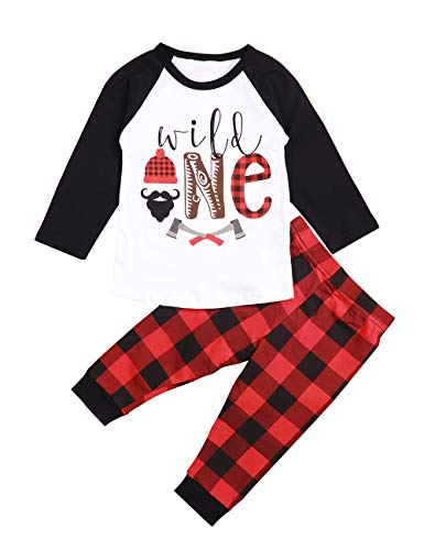 Baby 1st Birthday Outfits Wild One Long Sleeve T-Shirt with Red Plaid Pant and Hat (Red+Black+White, 2-3 T)