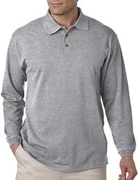 Men's Preshrunk 3 Buttons Long Sleeve Pique Polo Shirt