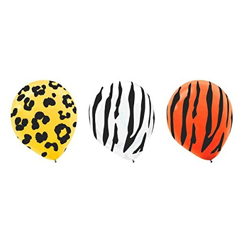 African Safari Party Assorted Animal Prints Balloon Decorations, Latex, 12