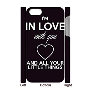 Custom Hard Plastic Back 3D Case Cover for iPhone 4,4S with Unique Design One Direction Quotes