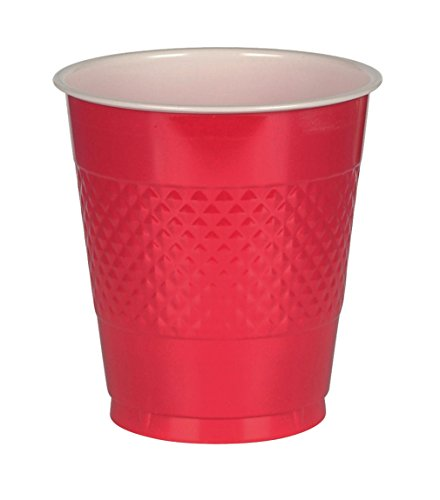Amscan 43036.40 Party cups, 12 oz, Red