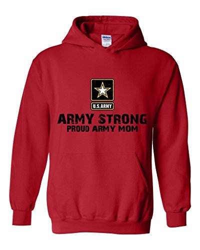 Army Strong Proud Army Mom Unisex Hoodie Sweatshirt Large Red (Army Star Sweatshirt)